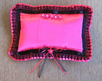 "Hot Pink Tooth Fairy Pillow with Pleated Ruffle---""Barracuda"""