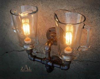 Wall Light. Twin Glass Beer Pitcher Sconce. Edison Bulbs.