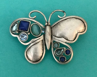 Vintage blue and silver rhinestone butterfly brooch insect brooch butterfly jewelry rhinestone brooch
