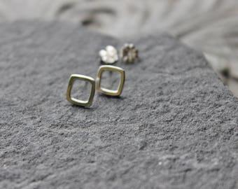 Square Tiny Sterling silver  Stud  Earrings, Metalwork, Minimalist sterling earrings, every day earrings