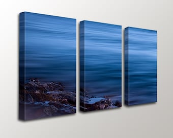 Navy Blue White Nautical Ocean Canvas,  3 Set Canvas Print,  Modern Ocean and Rock Canvas, Triptych Large Wall Art,  Hawaii Art Photography