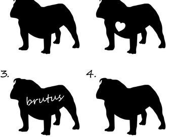 Bulldog Decal   Vinyl   Sticker - Custom