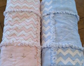 Rag Quilt, Crib Quilt, Pink, Blue, Anchor, Chevron