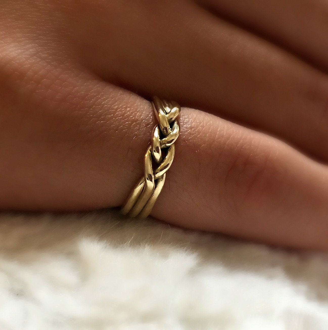 14 karat gold ring Gold wedding ring Braided wedding ring
