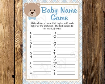 Printable Blue Teddy Bear Boy Shower Baby Name Game - Instant Download
