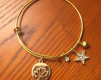 Adjustable Lotus Charm Bangle