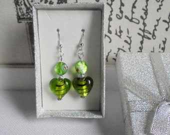 Glass lampwork bead earrings. Green earrings. Dangling earrings. Drop earrings. Green dangling earrings. Green drop earrings.