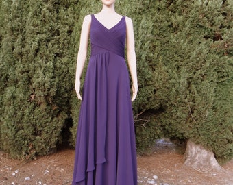 Dark Purple Prom Dress. Long Bridesmaid Dress . Floor Length Dress