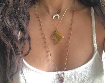 Tigers Eye Necklace // Tigers Eye Gold Necklace