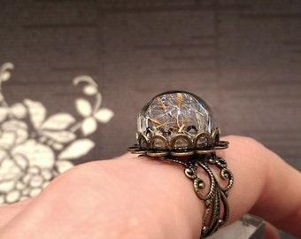 Real Dandelion Ring, Dandelion Wish Ring, Terrarium Ring