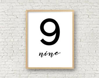 Number Nine // Simple 9 Printable // Individual Numbers Wall Art Print // 8x10 // Digital Print File // Numerology Gift // Black and White