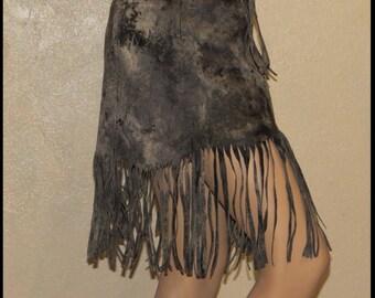 WARRIOR SKIRT Post Apocalyptic Skirt Black LEATHER Fringe Skirt Fallout Mad Max Leather Skirt 10/12