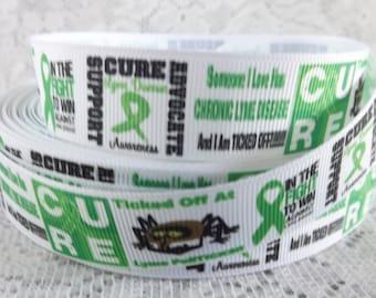 Lyme disease Ribbon 7/8 lyme disease grosgrain ribbon lyme disease awareness ribbon tick disease