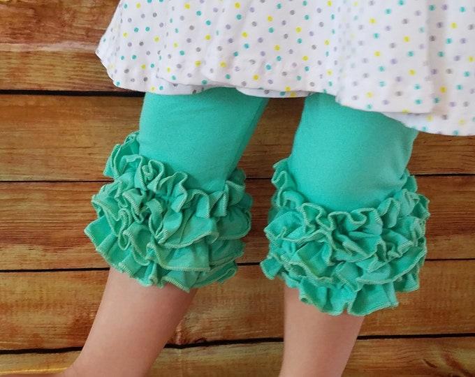 Featured listing image: Ruffle Capris Girls Clothing Pink, Mint, White Little Girls Ruffle Toddler Icing Capris Layering Pants Ruffle Leggings Toddler Capri Pants