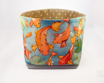 Koi Carp Fabric Storage Box, Storage Basket, Fabric Basket, Fabric Organiser, Storage Bin, Koi Gift