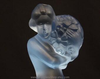 Art Deco blue lady figurine/frog