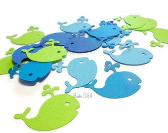 Mixed Blue & Lime Green Baby Whale Cut outs or Choose Your Colors- Whale Confetti-Set of 60pcs, 120pcs