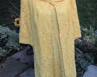 Size 16, Vintage Dress Set, 1960's , Yellow , wiggle dress, sleeveless, Lace,