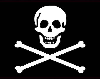 5in x 3in Jolly Roger Pirate Flag Bones Bumper magnet  magnets