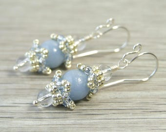 Small Angelite Earrings Sterling Silver Light Blue Earrings Unique Gifts, Blue Gemstone Jewelry Artisan Earrings, Vintage Style Earrings