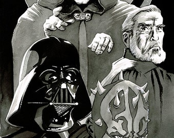 STAR WARS - Sith Lords A3 original ink drawing