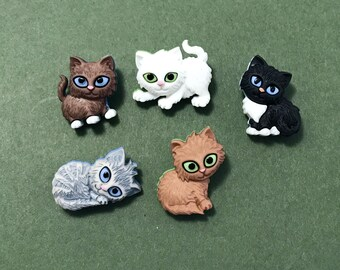Cat Buttons -  Dress it Up Kitten Kaboodle Novelty Embellishment - Shank Cats - Animal Buttons - Pet Embellishment - Party Favors - Kids