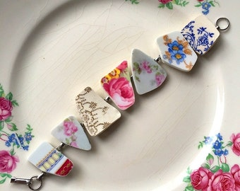 Broken china jewelry -  broken china bracelet - made from antique broken china plates - ecofriendly jewelry, Dishfunctional Designs