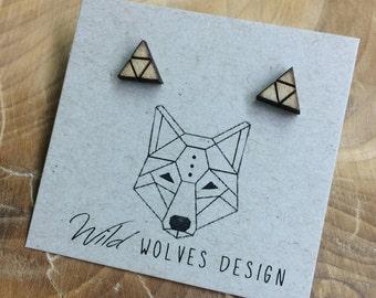 Upside Down Wood Triangle Stud Earrings