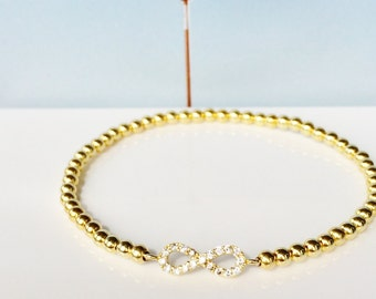 Infinity Bracelet, Gold Plated 925 Sterling Silver and Zirconia, Stretch and Safe to Get Wet