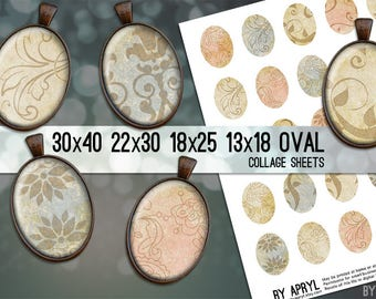 Digital Collage Sheet  30x40 22x30 18x25 13x18  Oval Vintage Paper  Images for Glass and Resin Pendants Bezel Cabs