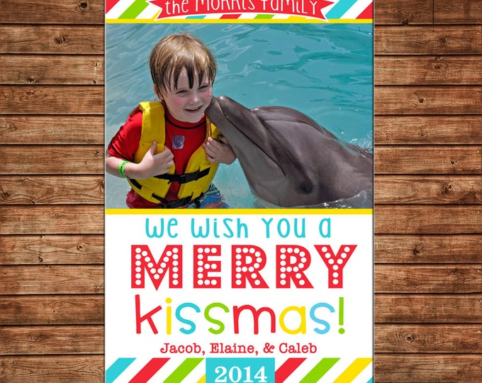 Photo Picture Christmas Holiday Card Merry Kissmas Multi Stripe Whimsical Child - Digital File