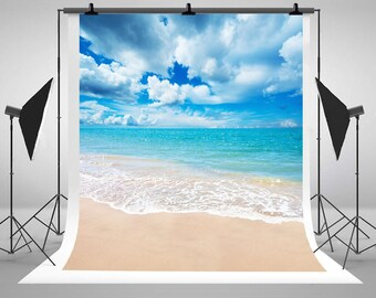 Beach Sea Blue Sky White Clouds Photography Backdrops No Wrinkles Photo Backgrounds for Summer Wedding Studio Props