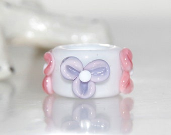 Snow Blossom Glass Dread Bead with 9mm hole