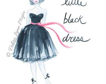Little Black Dress Fashion Illustration Print, Fashion Art, Fashion Sketch, Fashion Wall Art, Dressing Room Art, Chic Office, Fashion Poster