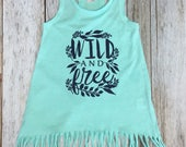 Wild and Free Mint Fringe Toddler Tank Dress- Baby Girl...