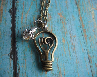 Electrician Electrical IBEW Light Bulb Wife Husband Charm Necklace Unique Jewelry Uniquely Impressed