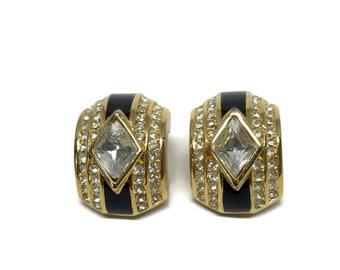 Christian Dior Earrings Rhinestones and Black Enamel in Gold Tone Setting Hugger Clip Ons