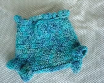 Hand Painted Wool Shortie Soakers, Diaper Cover, Unisex Medium - Bluebirds 409
