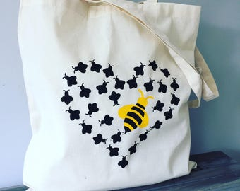 Queen Bee Love canvas tote bag, gift for her, beekeeper gift, bee lover gift, market bag, fun tote bag, unique gift bag, bee lover