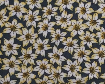 Cotton Fabric / Floral Cotton Fabric / Timeless Treasures Fabric of Soho / White Floral Fabric / Green Floral Fabric / Quilting Fabric
