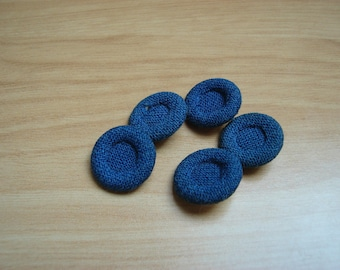 tail blue fabric covered buttons