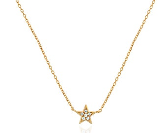 Star Necklace, Tiny Star,  Dainty Gold Necklace