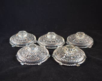 Vintage Pressed Glass Candleholders - Set of 5 from 1940's or 50's