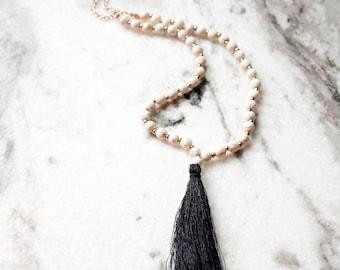 Gold White and Black Tassel Fringe Long Necklace Charm Bead Beads Beaded Gold Chain Boho Bohemian AH10005NGoldBlack
