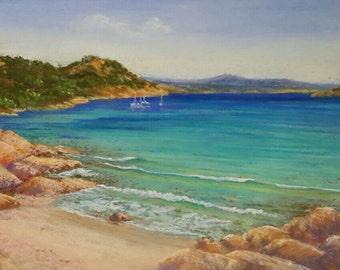Pastel painting. Seascape. Sardinia beach. Fine art. Summer painting. Small painting. Beach painting.