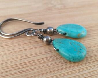 Blue Howlite Gemstone Earrings. Oxidized Sterling Silver. Rustic Earrings. Southwestern Jewelry. Turquoise Blue Earrings. Bohemian.