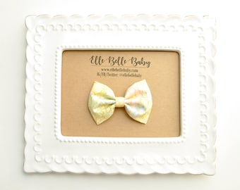 Vintage Yellow Floral Newborn Bow Tie -Belle Hair bow-Baby Headband -Cotton Hairbow - Infant Tuxedo Bow - Ballet Bow - Toddler Hair Clip