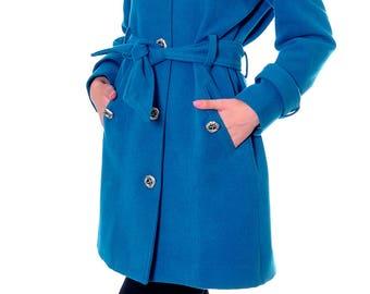 Sapphire Wool Coat, Winter Coat Women, Womens Wool Coat, Double Breasted Coat, Winter Jacket, Elegant Coat, Wool Jacket, Danellys D14.07.02