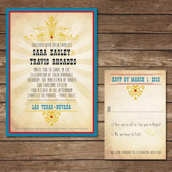 Las Vegas Wedding Invitation Wording: Printable Las Vegas Wedding Invitation With RSVP Card