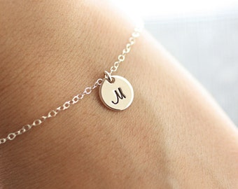 Sterling Silver Initial Bracelet, Initial Charm Dainty Bracelet - Personalized Everyday Bracelet - Hand Stamped - Bridesmaid Gift